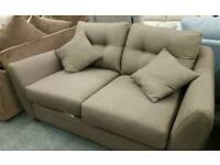 BRAND NEW 2 SEATER AND CHAIR BROWN FABRIC SUITE