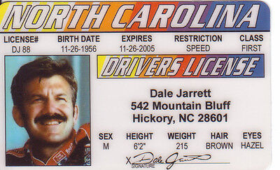 Dale Jarrett ID card Hickory North Carolina NC Drivers License Nascar Legend ()