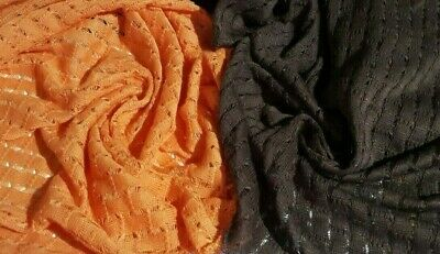 SPARSE KNIT JERSEY FABRIC-BROWN AND ORANGE COLOURS-SOLD BY THE METER
