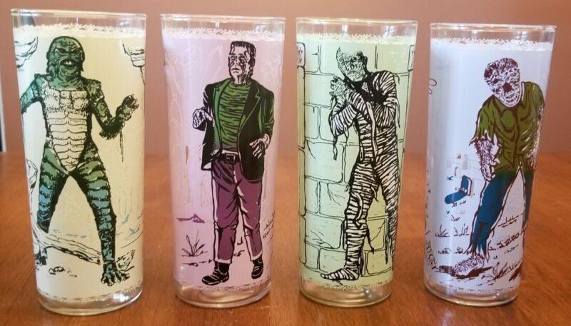 UNIVERSAL PICTURES MONSTER DRINKING GLASSES Creature Frankenstein Mummy Wolfman