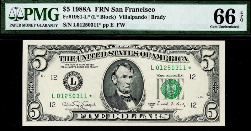 SCARCE 1988a* $5 San Francisco Federal Reserve STAR FRN • PMG 66 EPQ 1981-L*