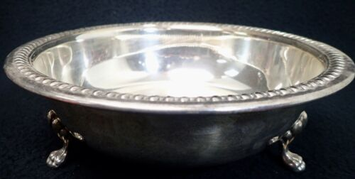 """vintage EPC Round silverplate SERVING BOWL with LION FEET 9 1/4"""""""