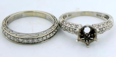 14k White Gold & Pave Diamond Engagement Ring & Wedding Band Set