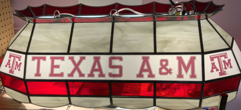 """✅ Texas A&M ATM 40"""" Tiffany Stained Glass Pool Table Lamp, ‼️SEE PICTURES"""