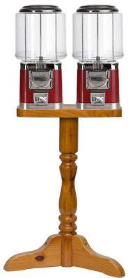 Double Barrel Bulk Gumballcandy Vending Machine With Wood Stand - Green