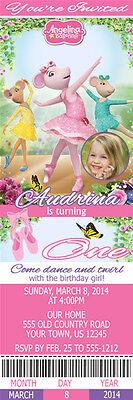 Printed Angelina Ballerina Custom Birthday Party Pink 1st Ticket - 1st Birthday Custom Invitations