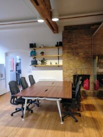 Four desks in friendly media-style office in Shoreditch, London