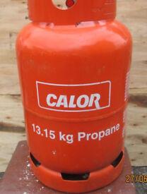 Empty red 13.15kg calor gas bottle