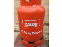 Empty red 13.15kg calor gas bottle