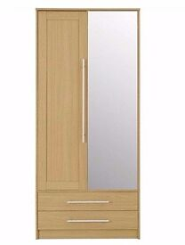 Kendal Double Wardrobe with Drawers, Oak Effect Brand New