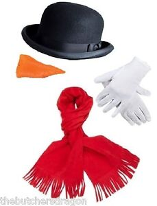 Snowman Hat Gloves Scarf & Nose Christmas Fancy Dress Kit ...