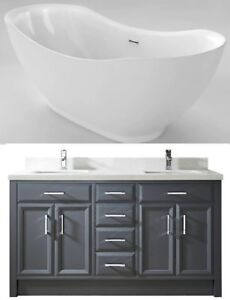 "URGENT 66"" Freestanding Bathtub, 63"" Double Vanity MAKE OFFER"