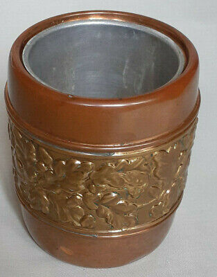 LINTON  COPPER & BRASS CYLINDRICAL POT  ACORN & LEAF DECORATION WITH INSERT
