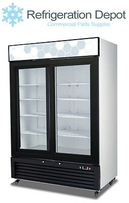 Migali C-49rs - Glass Door Merchandiser - Two Sliding Doors Cooler 49 Cuft