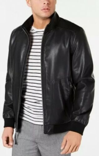 Men's Calvin Klein Faux Leather Bomber Jacket - Black