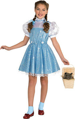 Girls Child WIZARD OF OZ Deluxe 75th Birthday Anniversary Sequin Dorothy - Girls Deluxe Dorothy Kostüm