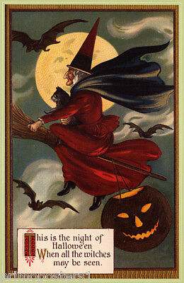 WITCH FLYING BROOM HALLOWEEN CAT FULL MOON BAT PUMPKIN VINTAGE POSTER REPRO ()