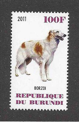 Dog Art Body Portrait Postage Stamp BORZOI RUSSIAN WOLFHOUND Burundi 2011 MNH