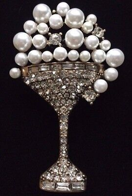 NEW YEARS WEDDING PARTY CELEBRATION CHALLIS CHAMPAGNE BUBBLE GLASS PIN BROOCH ](New Years Champagne)