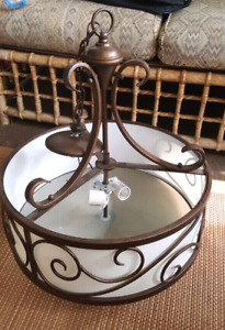 Lovely Drum Pendant Light in Antique Bronze  18 inches wide