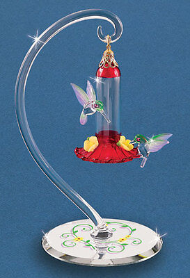 Glass Baron ~ Hummingbirds with Red Feeder Figurines ~ 14 kt gold accents ~ NIB
