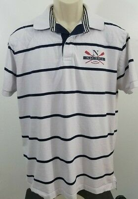 Nautica Mens Blue and White Stripe Polo Shirt Large #8 714