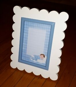 Solid Wood White & Blue Frame For Baby Boy - $3