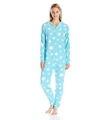 SLEEP & CO. Women's Plush Owl Union Suit Pajama with Hood - TURQUOISE - Medium