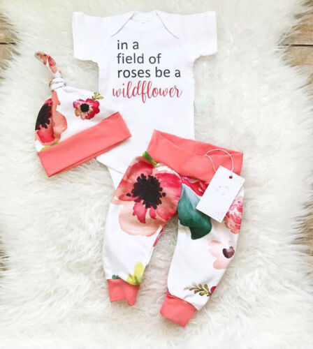 US Stock Newborn Toddler Baby Girls Tops Romper Flower Pants Hat Clothes Outfits
