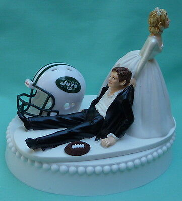 Wedding Cake Topper New York Jets NY Football Themed Sports Fans Bride Groom Top