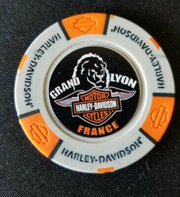 GRAND LYON HD ~ France ~International Harley Poker Chip~ COLOR~(Gray/Orange)