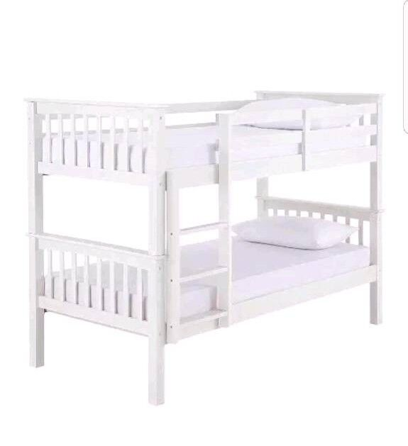 White wood bunk beds (can be split into 2 singles)