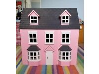 Large Pink Wooden Dolls House with Furniture