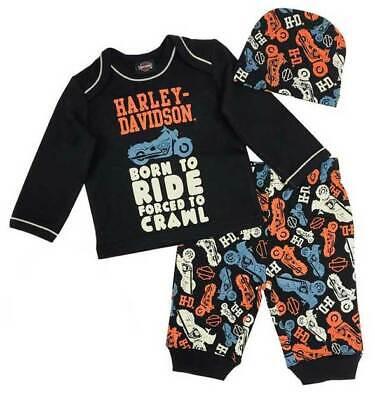 HD Baby Boys' Motorcycle Newborn 3-piece Set w/ Gift Bag **2553901** Harley Boys 3 Piece