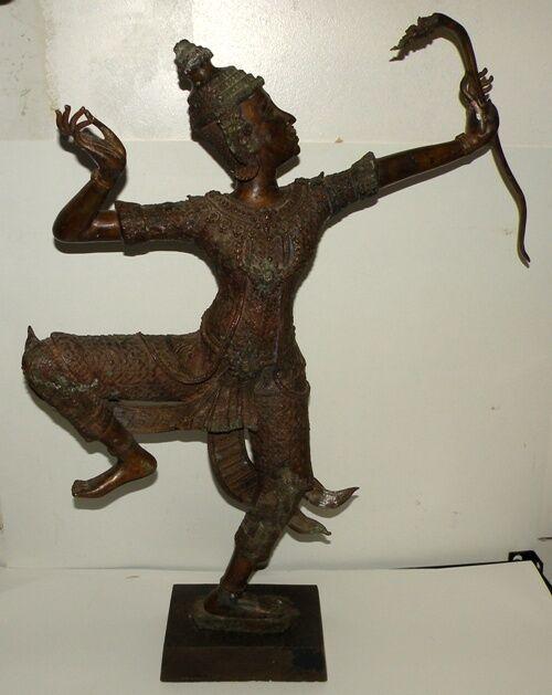 Hindu Amulet - Phra Rama Shot Bow - Exquisite Bronze Thai Statue