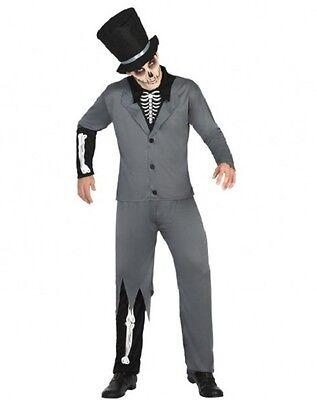 Kostüm Herren Skelett Grau XL Erwachsene Zauberer Halloween Neu Billig