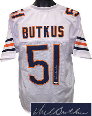 Dick Butkus signed White TB Pro Style Football Jersey XL- JSA Witnessed Holo