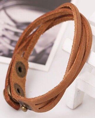 Paparazzi Light Brown Braided Leather Wrap Cuff Bracelet - Bracelet Light