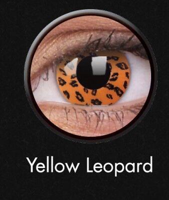 Crazy Contact Lens Lentilles Kontaktlinsen Yellow Leopard Fun Halloween Party UK ()