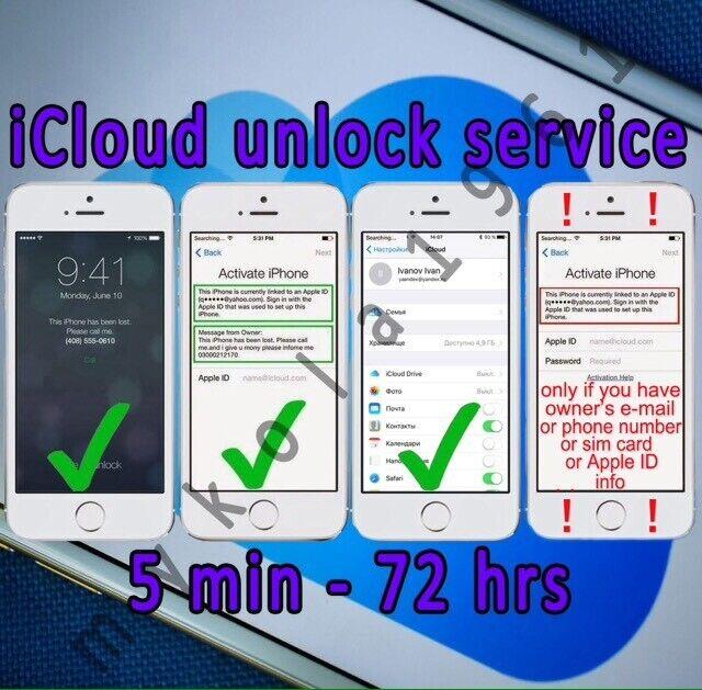 iCloud Unlock Removal Service for Activation Lock Apple ID iPhone iPad fmi READ!