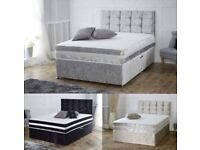 Crushed velvet bed with memory mattress