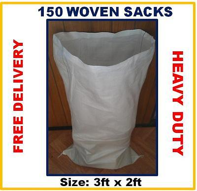 150 Woven Rubble Sacks Bags Heavy Duty Strong Sacks & Reusable  Sacks 2ft x 3ft