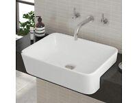Semi recessed bathroom basin 480x375