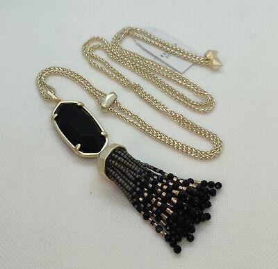 Kendra Scott Eva Long Pendant Necklace In Black / Gold Black Gold Chandelier