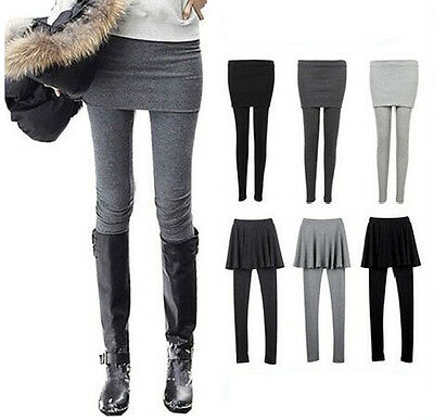 Fashion Womens Slim Two-piece In One Skirt Leggings Culottes High Elastic Pant