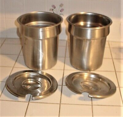 2 Pack Vollrath Steam Table Insert Pan 4 18 Qt Stainless Steel 78164 W Lids