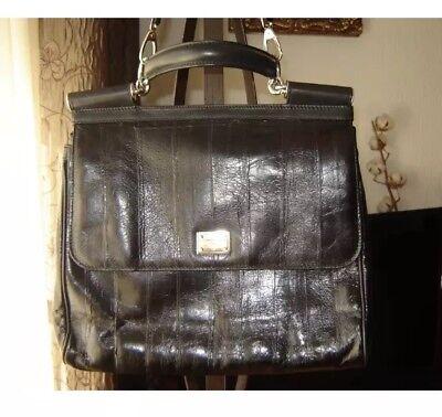 Gabbana Leder Handtasche Schwarz (Original Dolce & Gabbana Handtasche - aus schwarzem Leder MISS SICILY bag)