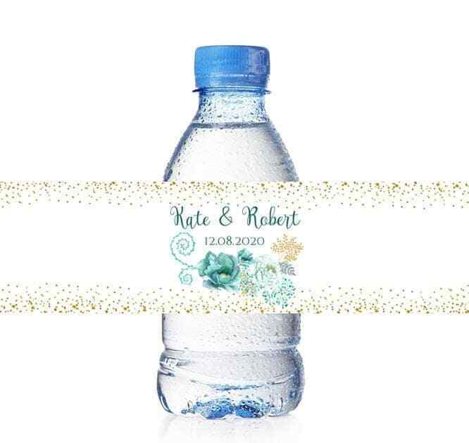25 Custom Teal Water Bottle Labels for Wedding Baby Shower Party