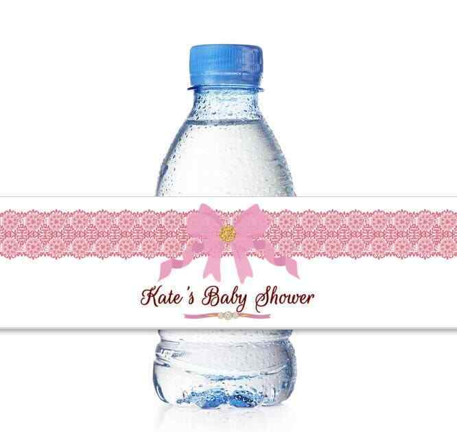 25 Personalized Girl Baby Shower Water Bottle Labels Wraps