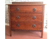 SOLID OAK CHEST OF 3 DRAWERS